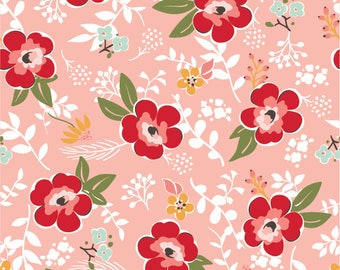 Sweet Prairie Fabric - Main in Coral - fat quarter / yardage