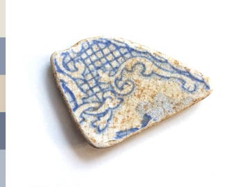 Scottish sea pottery piece, natural tumbled beach pottery shard  for jewelry or sea glass collection, washed up on Edinburgh beach  0556