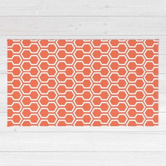 Honeycomb Pattern Area Rug Coral Orange Geometric Area Rug