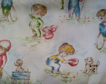 1970's Vintage Nursery Fabric Little Boys at Play--Sold by the Yard