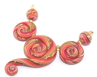 Polymer Clay beads jewelry beads DIY gift for Mom necklace stripes in red orange gold elegant gradient spiral beads for Jewelry making 5 pcs