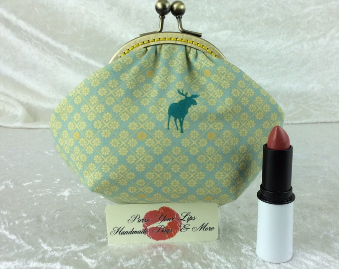 Handmade coin purse frame kiss clasp fabric change wallet pouch Moose