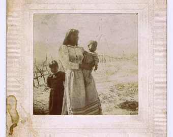 Antique Vintage Native American Woman and Children Photograph Indian US West