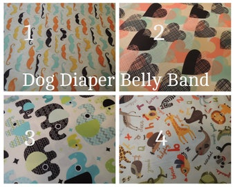 Dog Diaper Belly Band, Waterproof PUL Fabric,   Male Dog, Personalized