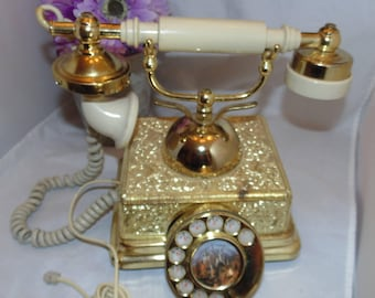 Vintage Gold color ROTARY Desk Phone United States TELEPHONE Company French Art Deco