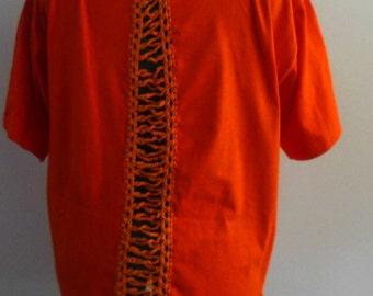 I Love New York  Womens Orange Tee Shirt  Eco  Fashion Upcycled