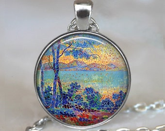 Sunrise in Provence art pendant, French Neo- Impressionism pendant, art necklace, painter's gift French art necklace key chain key ring fob