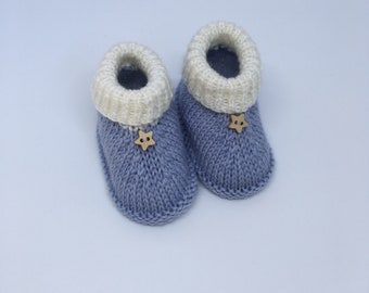 Baby booties -Blue booties -Newborn booties -Baby ugg boots-Baby shoes