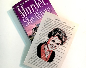 Murder She Wrote, TV show, art print, on vintage, novel paper, library book page, Jessica Fletcher, Angela Lansbury