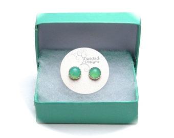 Chrysoprase Studs, Green Gemstone Stud Earrings 6mm