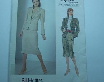 Vintage Vogue American Designer Pattern 1190 Bill Haire Jacket and Skirt  Misses Size 14 Factory Fold