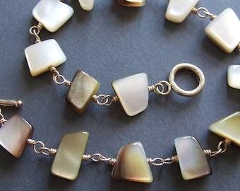 Fancy Shaped Mother-of-Pearl Bracelet in Gold, Mother of Pearl Jewelry, Wire Wrapped Jewelry