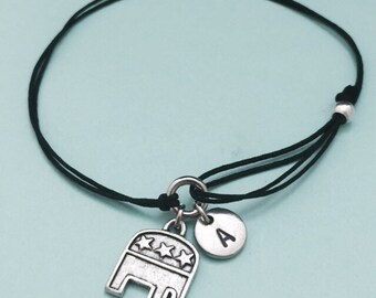 Republican elephant cord bracelet, republican elephant charm bracelet, adjustable bracelet, charm bracelet, personalized, initial, monogram