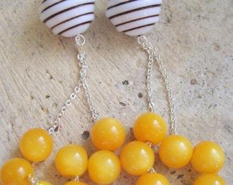 Gelato long dangle earrings, sterling, vintage Lucite