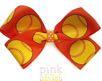 Large Orange Blue Fast Pitch Softball Hair Bow