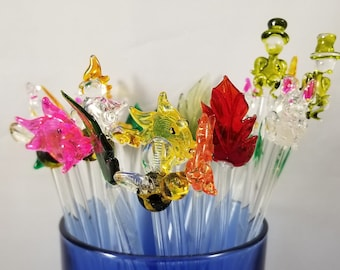 Vintage Hand Blown Swizzle Sticks in Shapes of Bunnies, Fish, Bumble Bees, Christmas Trees, leaves, Cockatoos, and Man in Tophat