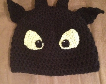 Toothless Night Fury Dragon Beanie Toothless Beanie How to train your dragon beanie -all sizes newborn through adult