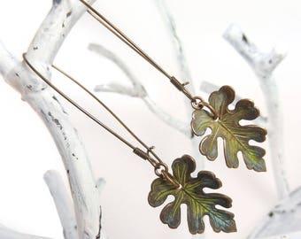 Verdigris Leaf Earrings, Green Leaf Earrings, Kidney Wire Earrings, Springtime Jewelry