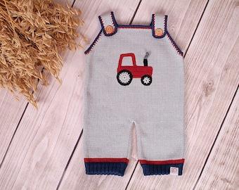 Baby Strampler Trägerhose Traktor