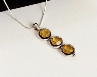 Faceted Pendant in Baltic Amber and Sterling Silver with chain