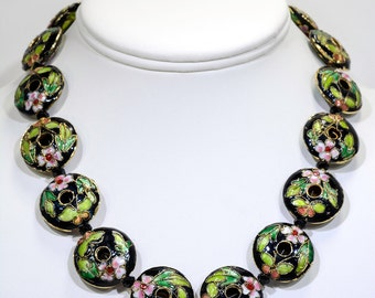 Enamel green and pink flower necklace
