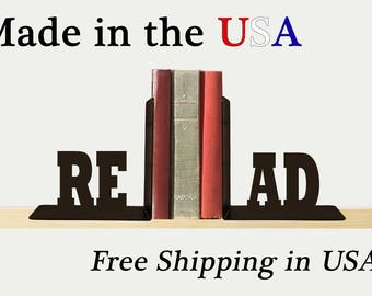 READ Bookends, Metal Art, Book Ends, Book Shelf, Books, Library, Home Decor, Free USA Shipping, BE1008