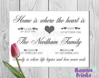Family Personalised Print With Family Names And Birth Dates - Features A Silver Holo Glitter Love Heart Size A4