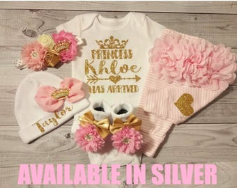 Baby girl coming home outfit, Personalized baby gown, baby, hat, monogram, name, initial, bring home outfit, hospital gown, take home outfit