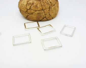 5 connectors closed rectangle geometric 11 * 15 mm light Silver (8SCA42)
