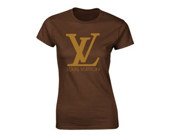 Louis Vuitton Inspired Graphic Brown or White with Glitter Option Womans T-Shirt
