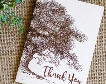 vintage oak tree thank you notes - wedding thank you card set - rustic thank you note card set