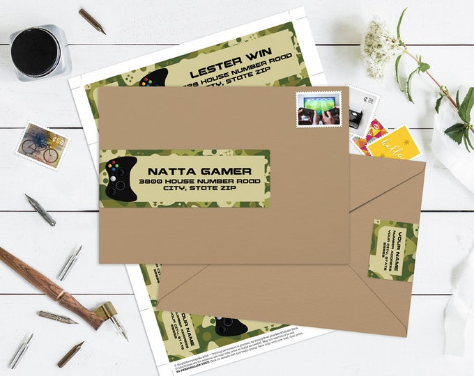 Video Game Wrap Address Printable Labels - Video Game Birthday, Video Game Truck, Camo | Editable Instant Download DIY Printable PDF