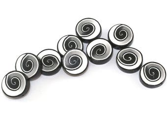 Round spiral jewelry pendant beads, DIY jewelry gift craft supplies, black and white polymer clay beads for bracelet necklace, 10 pcs.