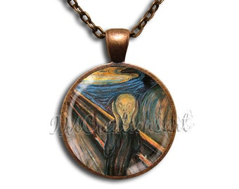 The Scream Glass Dome Pendant or with Chain Link Necklace  AP125