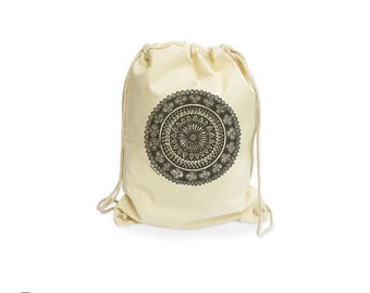 Mandala organic gymsack-yoga mandala gym sack-zen gym sack-custom bag-bag-cotton gymsack-boho gymsack-mandala-backpack-NATURA PICTA NGS002