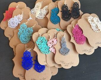 Bulk lace earrings, bulk boutique earrings, wholesale earrings, subscription box jewelry, bulk jewelry, country chic earrings, chandelier