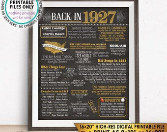 """1927 Flashback Poster, Flashback to 1927 USA History Back in 1927 Birthday Party, Born in 1927, Chalkboard Style PRINTABLE 16x20"""" Sign <ID>"""