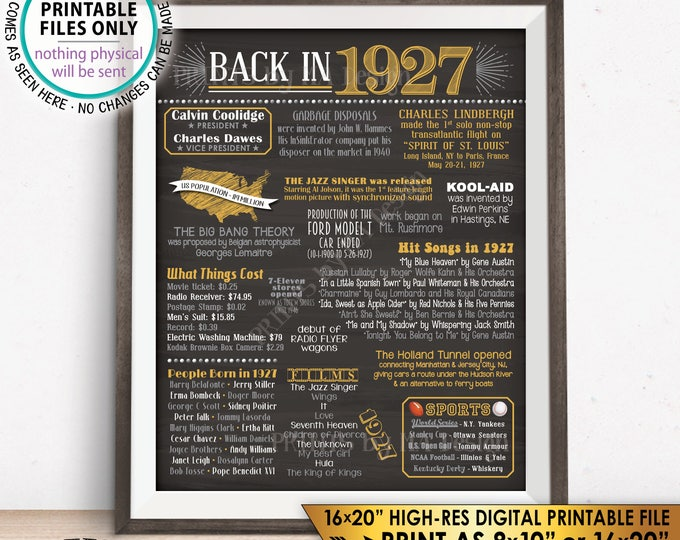 "1927 Flashback Poster, Flashback to 1927 USA History Back in 1927 Birthday Party, Born in 1927, Chalkboard Style PRINTABLE 16x20"" Sign <ID>"