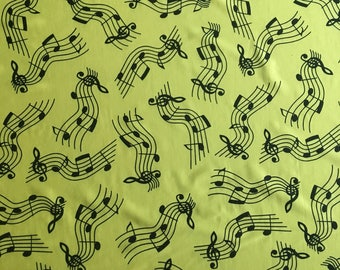 Nylon spandex music note print yellow and black 4 way stretch free shipping