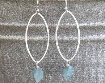 Hoop Earrings Aquamarine Earrings March Birthstone Gemstone Earrings