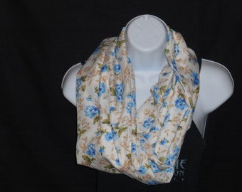 Cream with Blue Floral Print Infinity Scarf