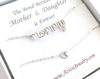 Matching Mother Daughter Necklaces. Sterling Silver Mommy Necklace and Heart Necklace Set. Heart Necklace. Valentine's Day Push Present.