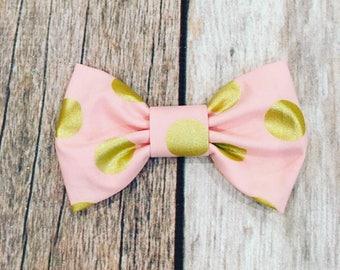 """Pink and Gold Polka Dot Fabric 4"""" Hair Bow Clip Headband"""