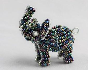 Handmade Beaded Elephant Keychain