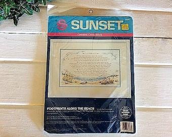 Footprints Cross Stitch Kit, Vintage Cross Stitch, Counted Cross Stitch Kit, Footprints Along the Beach Kit, 90s Cross Stitch, Needlepoint