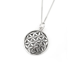 Sterling Silver Flower of Life Necklace, Sacred Geometry Pendant, Flower of Life Pendant