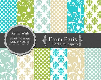 From Paris Digital paper kit for invites Instant Download jpg files