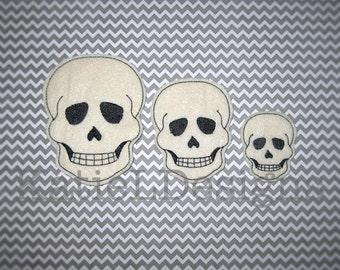 ITH Skull Feltie Machine Embroidery Design Pattern Download In The Hoop Felties Skulls 3 Sizes Oversized Halloween Decor