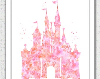 Castle printable art, coral pink castle Instant Download, Disney castle instant download, princess castle print, pink castle silhouette