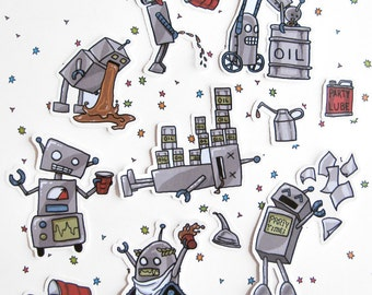 Party Stickers, Robot Stickers, Funny Robots, Party Robots, Greek Bots, , Paper Stickers, Sticker Flakes, Scrapbooking, Planner, College